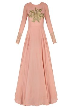 Pink rosette motif embroidered anarkali set available only at Pernia's Pop Up Shop.