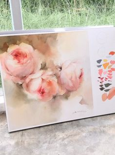 """Title : """"White roses"""" By : Phatcharaphan Chanthep Techniques : Watercolor on paper Size : 30 x 40 cm. Painting type: Original"""