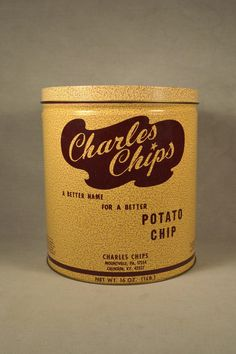 Vintage 1970s 1 Lb Charles Chips Potato Chips Tin, Excellent