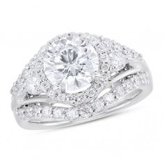 Vow to Wow Collection, 14k White Gold I2 Round Diamond Semi Mounting Engagement Ring, No Center Stone, 1 ctw