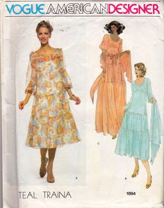Vogue American Designer 1894 vintage sewing pattern, dated circa 1970s.  Designer: Teal Traina Misses Dress and Shawl: Loose-fitting, pullover dress, mid-calf or evening length with front and back bodice gathered into bias neck binding, has scooped neckline, two tiered skirt