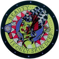 SOURPUSS BEAUTY IS ONLY SKIN DEEP CLOCK $20.00 #sourpuss #sourpussclothing #housewares #clock #rockabilly #zombie