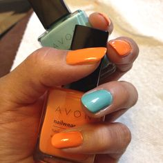 Orange & turquoise.  By Avon  www.youravon.com/jaclynsales