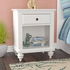 Beachcrest Home Harrison 1 Drawer Nightstand Colour: Brushed White Display Shelves, Storage Shelves, Wood Anchor, Wood Storage Bench, Wood Nightstand, Double Dresser, Panel Headboard, End Tables With Storage, Tufting Buttons