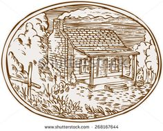 Etching engraving handmade style illustration of a log cabin farm house with smoke coming out from chimney set inside oval shape with trees and plants in the background.  - stock vector