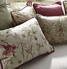 Prestigious Textile's Ambleside Fabric collection comprises 6 different designs completed by rustic check and delicate trellis on pure cotton. Stylish Interiors, Home Textile, Floral Prints, Pillows, Prestigious Textiles, Modern Prints, Fabric, Upholstery Fabric, Fabric Collection