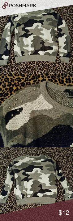 """Forever 21 Grey Camouflage Sweater with Spikes Spike studs on shoulders Length 25"""" 100% Cotton Forever 21 Sweaters Crew & Scoop Necks"""