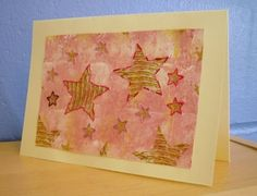 Stars Greetings Card Hand Stitched Card Birthday by KezylouToo
