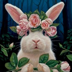 US Shipping Adorable Bunny Rabbit Pink Roses Diamond Painting Kit. by OurCraftAddictions Rabbit Art, Bunny Rabbit, Pink Rabbit, Funny Bunnies, Cute Bunny, Lapin Art, Baby Animals, Cute Animals, Art Fantaisiste