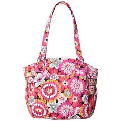 Vera Bradley Glenna (Pixie Blooms) Tote Handbags ($33) ❤ liked on Polyvore featuring bags, handbags, tote bags, pink, pink purse, vera bradley tote, zip top tote, white purse and white tote bag