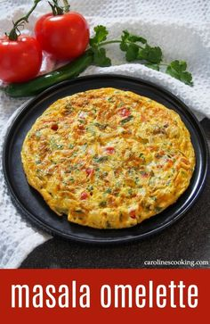 Masala omelette is a popular Indian breakfast packed with flavor. It's quick and easy to make, with a simple combination of vegetables and a bit of spice. Enjoy it as it is or wrapped in a roti. #eggs #omelette #indianfood Delicious Breakfast Recipes, Vegetarian Breakfast, Brunch Recipes, Supper Recipes, Yummy Recipes, Vegetarian Recipes, Egg Recipes, Indian Food Recipes, Ethnic Recipes