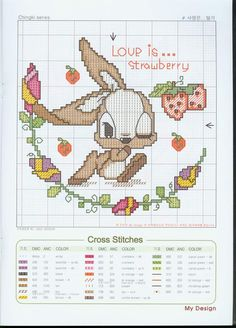 Cross-stitch Love is... Strawberry ...    Coniglietto 01