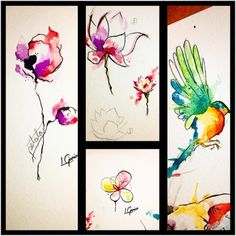 Study • sketches • Watercolor tattoo • #tattoo #tattooart #watercolor #watercolortattoo #aquarela #aquarelle #study #sketch #birds #bird #flowers #lotus #abstract #art #arte #tatuagem #lcjunior