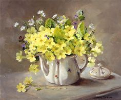 Primroses In A Teapot - Limited Edition Print Mill House Fine Art Publishers Of Anne Cotterill Flower Art Arte Floral, Flower Prints, Flower Art, Still Life Flowers, Primroses, Painting Still Life, Botanical Art, Art World, Painting & Drawing