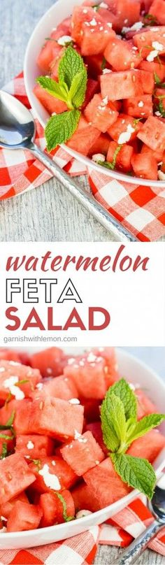 Add some variety to your summer BBQ menu! This sweet and savory Watermelon Feta Salad recipe is one of our favorite easy summer side dishes with only four ingredients. It never fails to disappear at picnics and potlucks! Watermelon Feta Salad Recipes, Fresh Salad Recipes, Watermelon And Feta, Fruit Recipes, Cooking Recipes, Easter Recipes, Spinach Salads, Summer Recipes, Healthy Vegetable Recipes