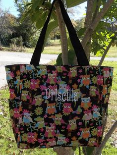 Monogrammed Over Sized Owl Tote | The Old Bag's Bags