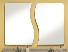 329 – Frameless set of two mirrors features pencil polished edges. Rectangle shaped with radius corners. Each mirror measures 28″ wide, 40″ high and 3/8″ deep.