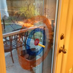 Great activity! I drew a target on our back door with dry erase markers. The kids love using their Nerf guns for target practice. It's also a chance to practice addition when it's time to tally up the score. I can change out the score amounts as the kids' math skills need improving.  They have no idea they're learning...