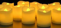 LED Lighted Flickering Votive Style Flameless Candles - Banberry Designs - Box of 12 - Wedding Decorations - White Faux Candles - Flameless Candle Set - Centerpieces *** Continue to the product at the image link. Led Tealight Candles, Candle Box, Tea Light Candles, Bougie Led, Novelty Lighting, Led Tea Lights, Just In Case, Like4like, Battery Operated