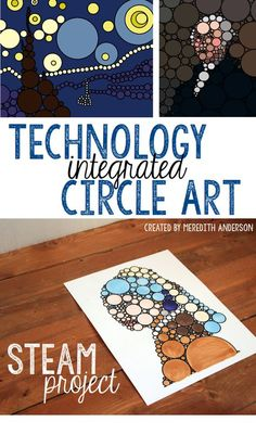Technology Integrated Art - Pi Day STEAM Project STEAM circle art project - Print the premade templates or learn how to create your own design from any picture. A fun project based learning activity that is great for Pi Day and beyond. Middle School Art, Art School, School Fun, Ipad Kunst, Steam Art, Circle Art, Circle Design, Math Art, Science Art