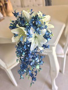 Small Wedding Bouquets, Blue Wedding Flowers, Bride Bouquets, Bridal Flowers, Flower Bouquet Wedding, Wedding Colors, Blue Orchid Bouquet, Cute Wedding Ideas, Wedding Decorations