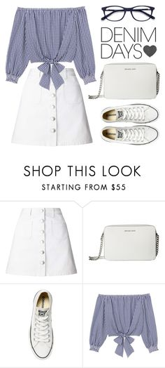 """Untitled #213"" by mindy-2-1 ❤ liked on Polyvore featuring Miss Selfridge, MICHAEL Michael Kors, Converse, Sanctuary, EyeBuyDirect.com, Summer, Spring, fashionset, denimskirts and 2018"
