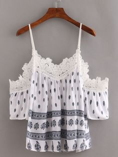 Shop Lace Trimmed Cold Shoulder Printed Top - Navy at ROMWE, discover more fashion styles online. Boho Fashion, Fashion Outfits, Womens Fashion, Fashion Trends, Pretty Outfits, Cute Outfits, Summer Outfits, Casual Outfits, I Dress
