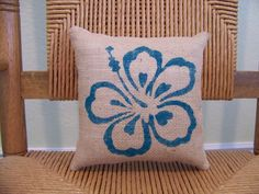 Hibiscus Flower pillow Burlap pillow Beach by KelleysCollections