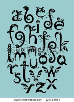 Monsters font   Monster Font Stock Vector 127188854 : Shutterstock