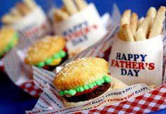 Hamburger cakes and sugar cookie french fries