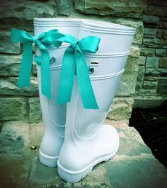 RESERVEDWhite Rain Boots with Tiffany Blue Bow by PuddlesNRainBows