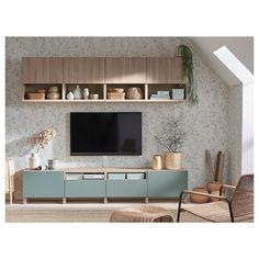 IKEA - BESTÅ TV storage combination walnut effect light gray Ikea Tv, Tv Wanddekor, Tv Wall Decor, Tv Area Decor, Tv Unit Decor, Ikea Living Room, Tv On Wall Ideas Living Room, Living Room Storage, Home And Living
