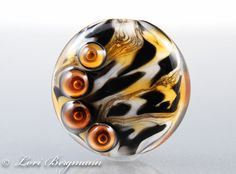 Tiger Lampwork Focal Bead by @LoriBergmann, handmade jewelry supplies, SRA
