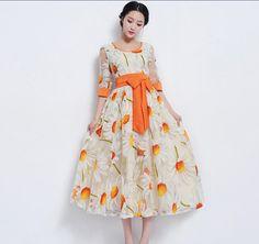 Orange Organza Sunflower Floral Aline Dress Bohemian by ChineseHut,... lindo demais