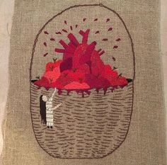 Snow White by Annie Aube, hand embroidery on linen Snow White 2, Contemporary Embroidery, Annie, Textile Art, Fiber Art, Hand Embroidery, Needlework, Art Projects, Reusable Tote Bags