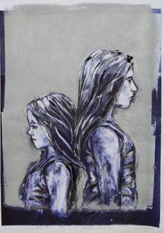 "Saatchi Art Artist Shauna Southam; Printmaking, ""Sisters Blue & Silver"" #art"