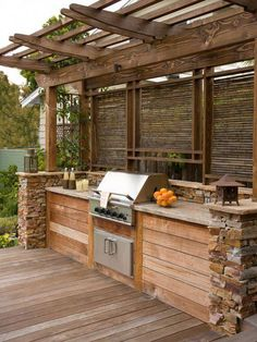 Outdoor Kitchens Built In Grill Design- like the location of girll & privacy. May do different wood/stone though.Built In Grill Design- like the location of girll & privacy. May do different wood/stone though. Rustic Outdoor Kitchens, Diy Outdoor Kitchen, Backyard Kitchen, Kitchen On A Budget, Backyard Patio, Backyard Landscaping, Outdoor Decor, Outdoor Bars, Patio Bar