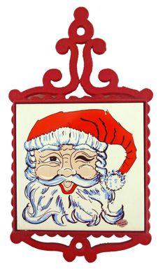 Red Cast Iron Winking Santa Claus Christmas Holiday Tile Trivet Enesco Vintage