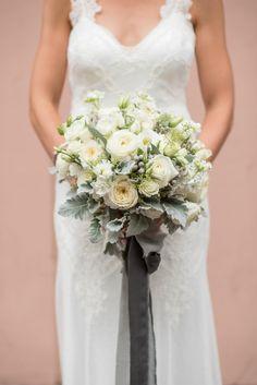 Dusty miller and ranunculus wedding bouquet: Photography: Mikkel Paige - https://www.mikkelpaige.com/