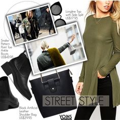Yoins 14: Street Style by pokadoll on Polyvore featuring moda, Quay, women's clothing, women's fashion, women, female, woman, misses, juniors and yoins