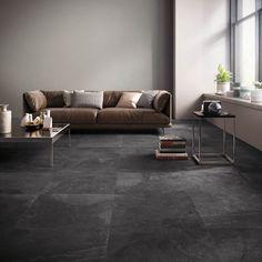 Living Room Decor Cozy, Living Room Windows, Living Room Modern, Home Living Room, Industrial Bedroom Design, Interior Design Living Room, Living Room Designs, Dark Tile Floors, Stone Flooring