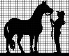 COWGIRL AND HER HORSE Graphghan Pattern