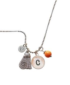 Loving this Sterling Silver & Orange Initial Heart Charm Necklace on #zulily! #zulilyfinds