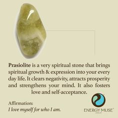 """Prasiolite brings spiritual growth and expression into your every day life. It clears negativity, attracts prosperity and strengthens your mind. <a class=""""pintag"""" href=""""/explore/crystals/"""" title=""""#crystals explore Pinterest"""">#crystals</a>"""
