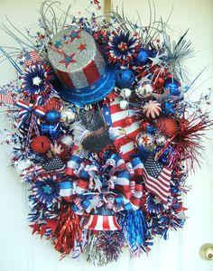 XXL Patriotic wreath 4th of July wreath by WreathsbyKimberly, $175.00