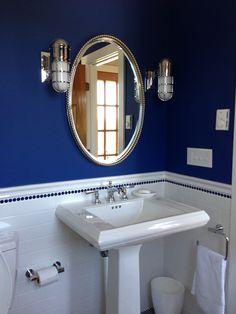 Cobalt blue penny tile bath Marine sconces