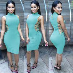 High-neck Sleeveless Solid Bandage Club Knee-length Dress