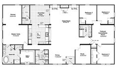 The Floor plan for the Evolution Model home by Palm Harbor - Square Footage: 3,116 Exterior Dimensions: 41 x 76 Bedrooms: 4 Living Areas: 2 Bathrooms: 2 Dining Areas: 2 Available as a manufactured or a modular home in Texas, Louisiana, New Mexico and Oklahoma.