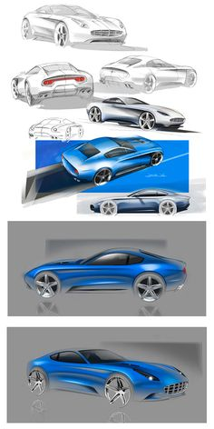Touring Berlinetta Lusso - Design Sketches - Car Body Design