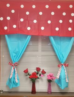 My curtains for my classroom. The colors match our Dr. Seuss theme.❤~B.